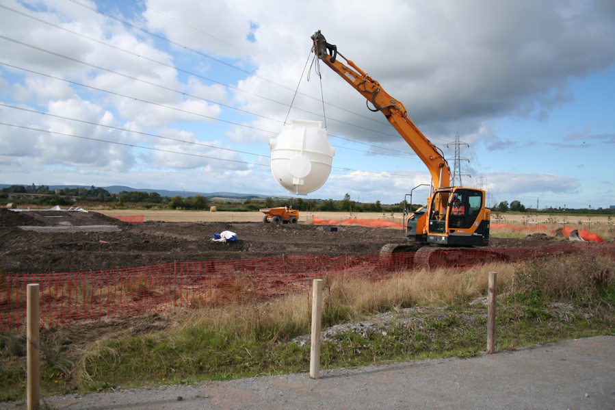 Steart Marshes installing the pumping station for the Environment Agency and The Wildfowl & Wetlands Trust